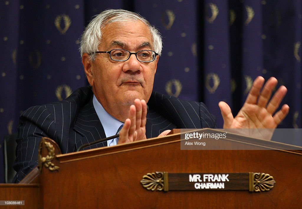 Committee Chairman Rep. <a gi-track='captionPersonalityLinkClicked' href=/galleries/search?phrase=Barney+Frank&family=editorial&specificpeople=216439 ng-click='$event.stopPropagation()'>Barney Frank</a> (D-MA) speaks during a hearing before the House Financial Services Committee July 22, 2010 on Capitol Hill in Washington, DC. Federal Reserve Board Chairman Ben Bernanke testified at the hearing on the 'Monetary Policy and the State of the Economy' and advised on the continuation of goverment stimulus spending for economic recovery.