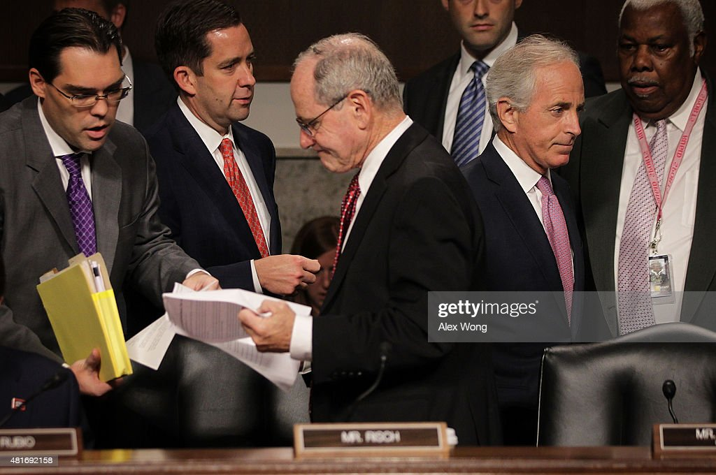 Committee chairman Sen. <a gi-track='captionPersonalityLinkClicked' href=/galleries/search?phrase=Bob+Corker&family=editorial&specificpeople=3986296 ng-click='$event.stopPropagation()'>Bob Corker</a> (R-TN) (2nd R), and Sen. James Risch (R-ID) (3rd R) prior to a hearing before the Senate Foreign Relations Committee July 23, 2015 on Capitol Hill in Washington, DC. The committee is reviewing the proposed Iran nuclear agreement.