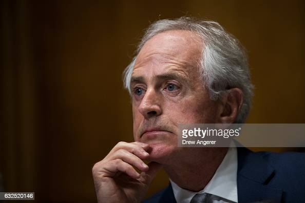 Committee chairman Sen Bob Corker listens during a Senate Foreign Relations Committee business hearing to vote on US Secretary of State nominee Rex...