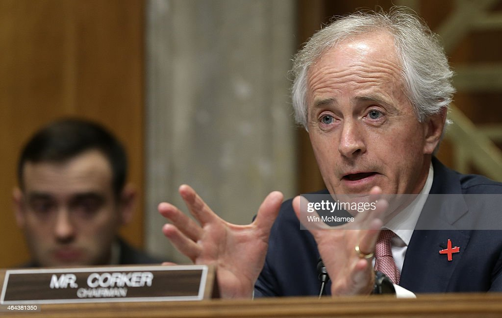 Committee Chairman Sen. <a gi-track='captionPersonalityLinkClicked' href=/galleries/search?phrase=Bob+Corker&family=editorial&specificpeople=3986296 ng-click='$event.stopPropagation()'>Bob Corker</a> (R-TN) questions retired Marine Corps Gen. John Allen, special presidential envoy for the global coalition to counter ISIL, while Allen testifies before the Senate Foreign Relations Committee February 25, 2015 in Washington, DC. The committee heard testimony on the topic of 'The Fight Against