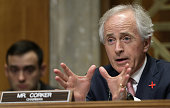 Committee Chairman Sen Bob Corker questions retired Marine Corps Gen John Allen special presidential envoy for the global coalition to counter ISIL...