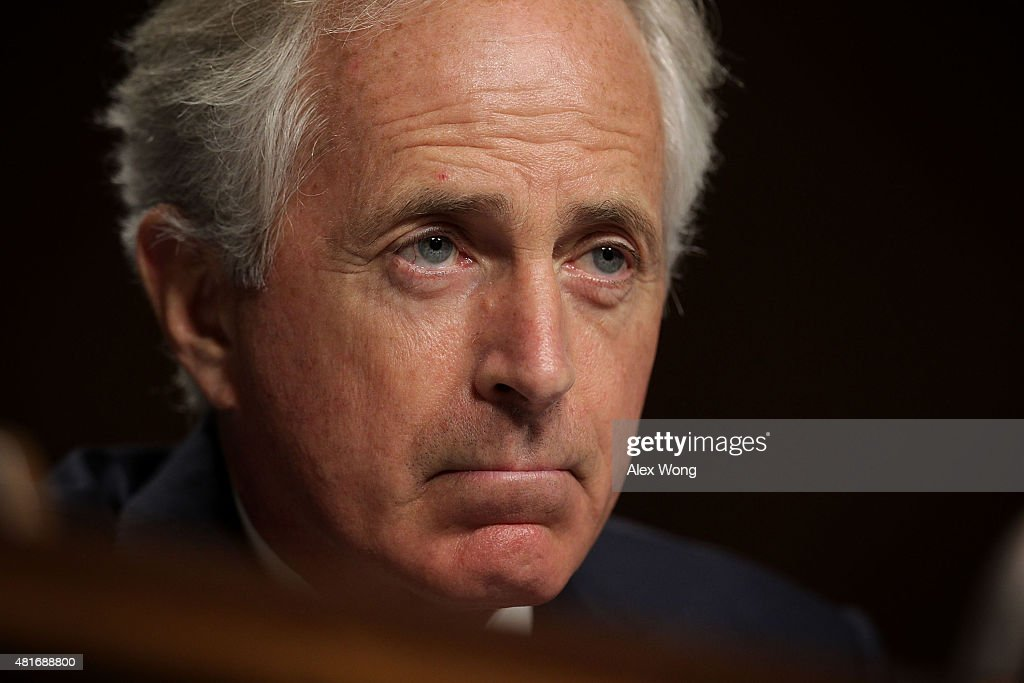 Committee chairman Sen Bob Corker speaks during a hearing before the Senate Foreign Relations Committee July 23 2015 on Capitol Hill in Washington DC...
