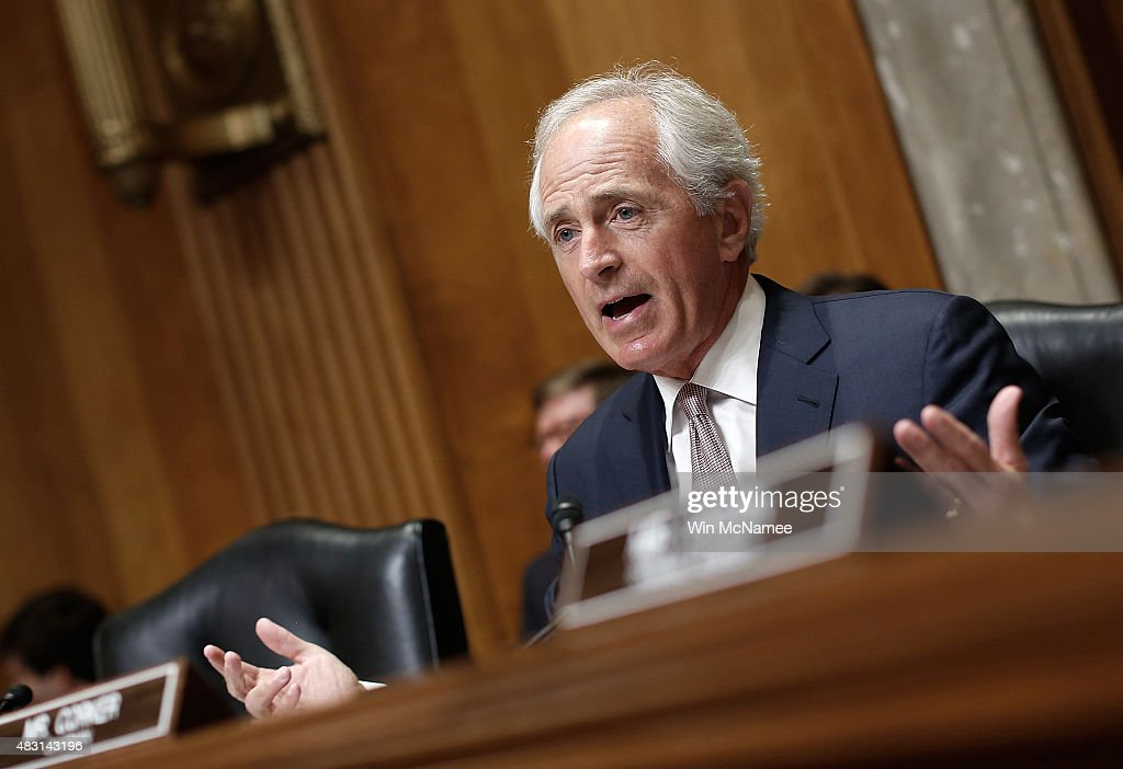 Committee Chairman Sen. <a gi-track='captionPersonalityLinkClicked' href=/galleries/search?phrase=Bob+Corker&family=editorial&specificpeople=3986296 ng-click='$event.stopPropagation()'>Bob Corker</a> (R-TN) speaks on U.S. President Barack Obama's remarks on the Iran nuclear deal prior to a hearing held by the Senate Foreign Relations Committee August 6, 2015 in Washington, DC. The committee heard testimony on the 'Review of the 2015 Trafficking in Persons Report.'