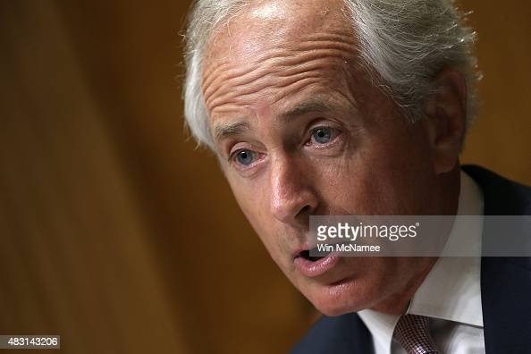 Committee Chairman Sen Bob Corker speaks on US President Barack Obama's remarks on the Iran nuclear deal prior to a hearing held by the Senate...