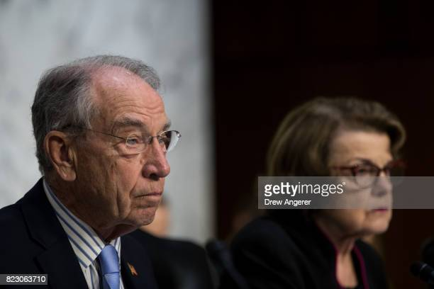 Committee chairman Sen Chuck Grassley and ranking member Sen Dianne Feinstein listen to testimony during a Senate Judiciary Committee hearing titled...