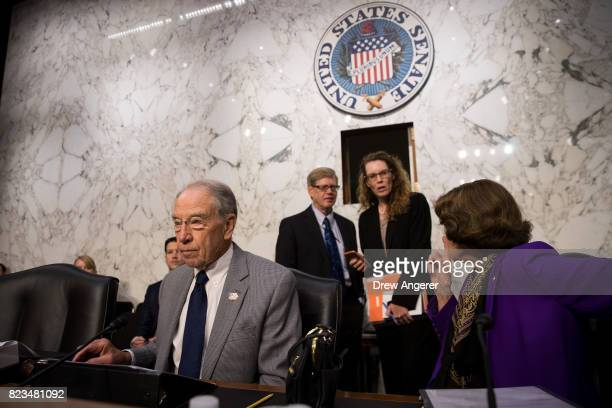 Committee chairman Sen Chuck Grassley and ranking member Sen Dianne Feinstein arrive at the start of a Senate Judiciary Committee hearing titled...