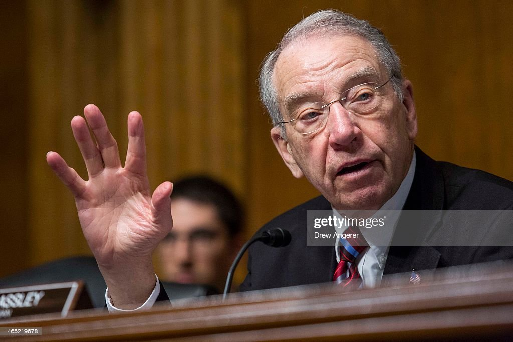 Committee Chairman Sen. <a gi-track='captionPersonalityLinkClicked' href=/galleries/search?phrase=Chuck+Grassley&family=editorial&specificpeople=504960 ng-click='$event.stopPropagation()'>Chuck Grassley</a> (R-Iowa) questions witnesses during a Senate Judiciary Committee hearing entitled 'Whistleblower Retaliation at the