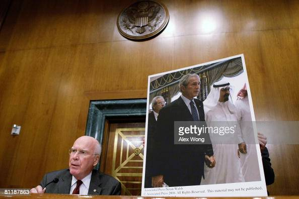 Committee Chairman Sen Patrick Leahy speaks next to a picture of US President George W Bush walks with Saudi King Abdullah from his recent Middle...