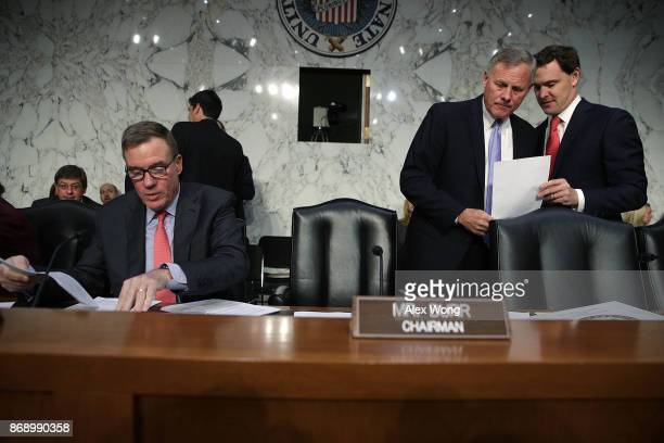 Committee Chairman Sen Richard Burr and Committee Vice Chairman Sen Mark Warner wait for the beginning of a hearing before the Senate Intelligence...