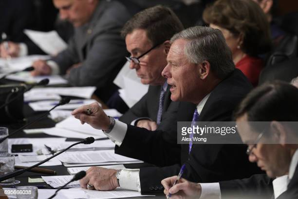 Committee chairman Sen Richard Burr questions US Attorney General Jeff Sessions during a hearing of the Senate Intelligence Committee on Capitol Hill...