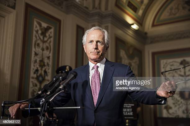 Committee Chairman Senator Bob Corker answers questions after Democratic members of the Senate Foreign Relations Committee meet with Vice President...