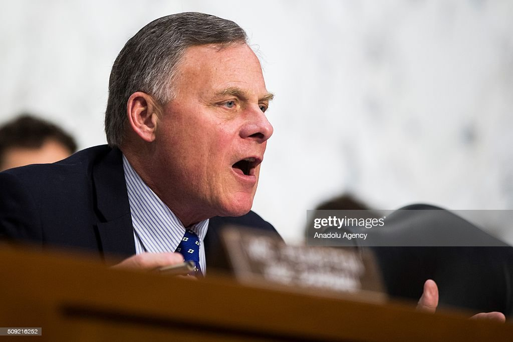 Committee Chairman Senator Richard Burr questions the witnesses during a Senate Intelligence Committee hearing in Washington, USA on February 9, 2016.