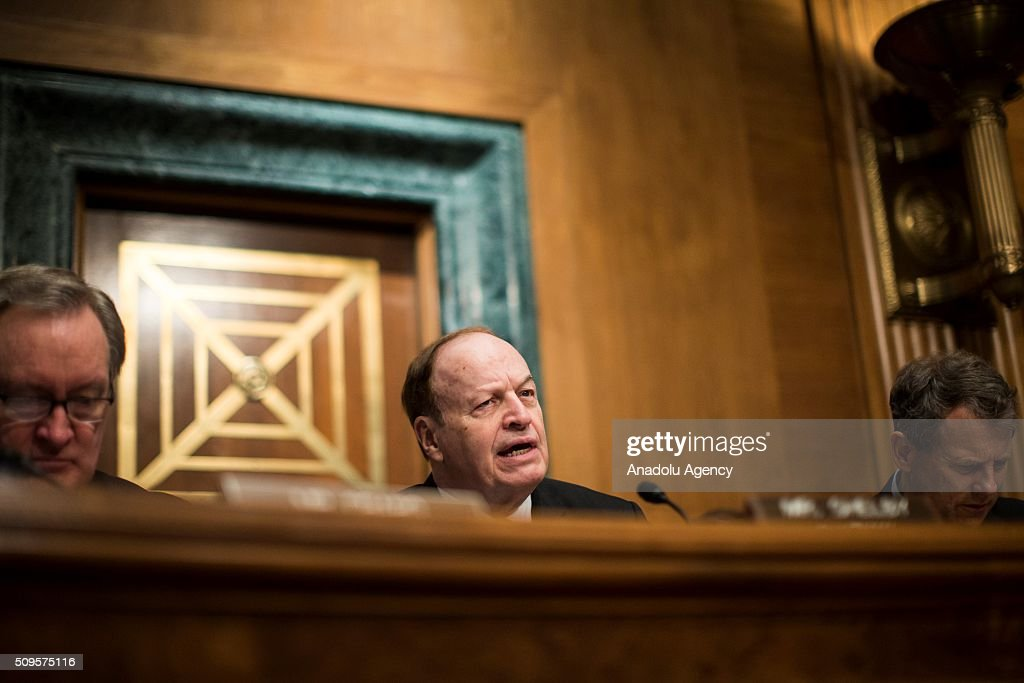 Committee Chairman Senator Richard Shelby delivers his opening statement during a Senate Banking Committee hearing on the semiannual monetary report to Congress in Washington, USA on February 11, 2016.