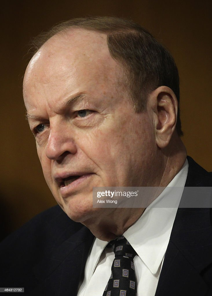 Committee chairman U.S. Sen. <a gi-track='captionPersonalityLinkClicked' href=/galleries/search?phrase=Richard+Shelby&family=editorial&specificpeople=529578 ng-click='$event.stopPropagation()'>Richard Shelby</a> (R-AL) speaks during a hearing before the Senate Banking, Housing and Urban Affairs Committee February 24, 2015 on Capitol Hill in Washington, DC. Federal Reserve Board Chair Janet Yellen testified and gave the Federal Reserve semiannual monetary policy report to the Congress.