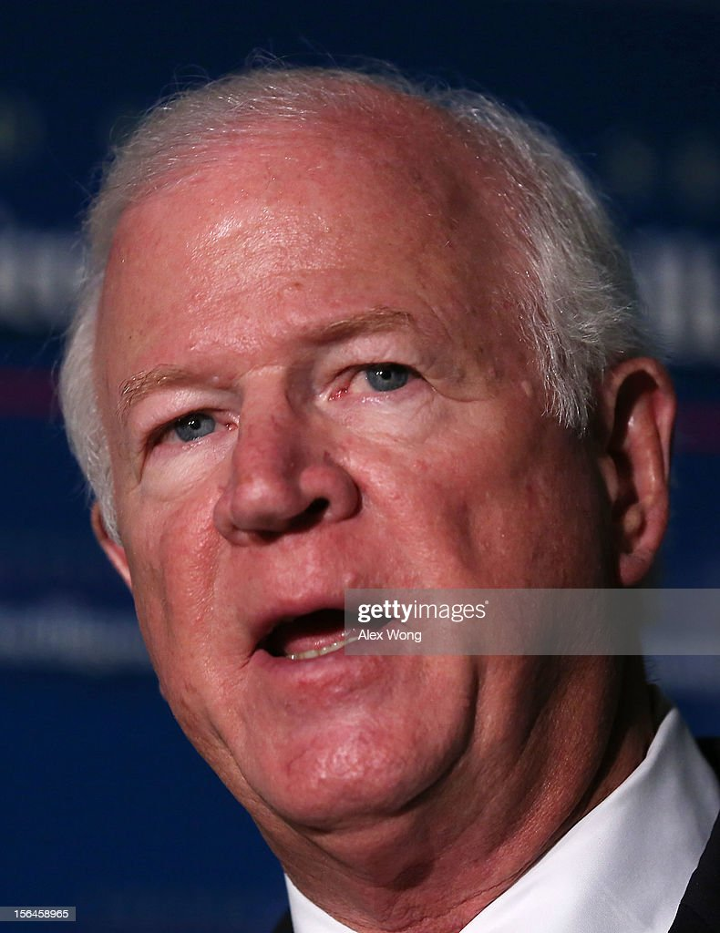Committee ranking member Saxby Chambliss (R-GA) speaks to members of the media after a closed-door meeting before the Senate Select Intelligence Committee about ongoing intelligence activities November 15, 2012 in Washington, DC. The meeting was related to the attack on the U.S. diplomatic mission in Benghazi.