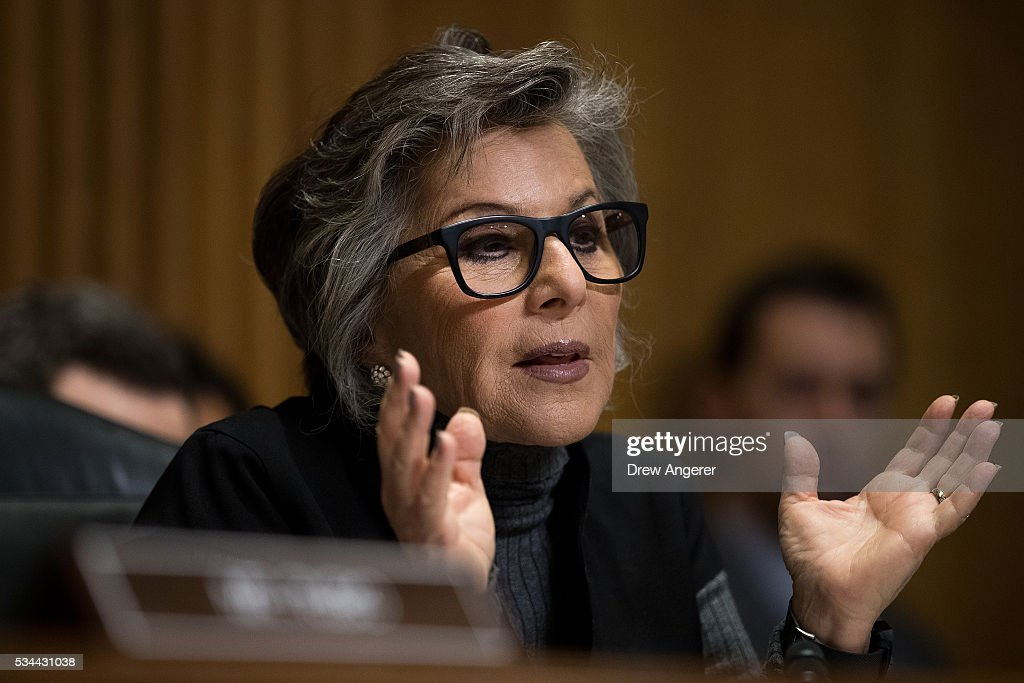 Committee ranking member Sen. Barbara Boxer (D-CA) questions witnesses during a Senate Foreign Relations Committee hearing concerning cartels and the U.S. heroin epidemic, on Capitol Hill, May 26, 2016, in Washington, DC. According to the U.S. Centers for Disease Control and Prevention, from 2002 to 2013 the rate of heroin-related deaths quadrupled in the United States, with most of the increase coming after 2010.