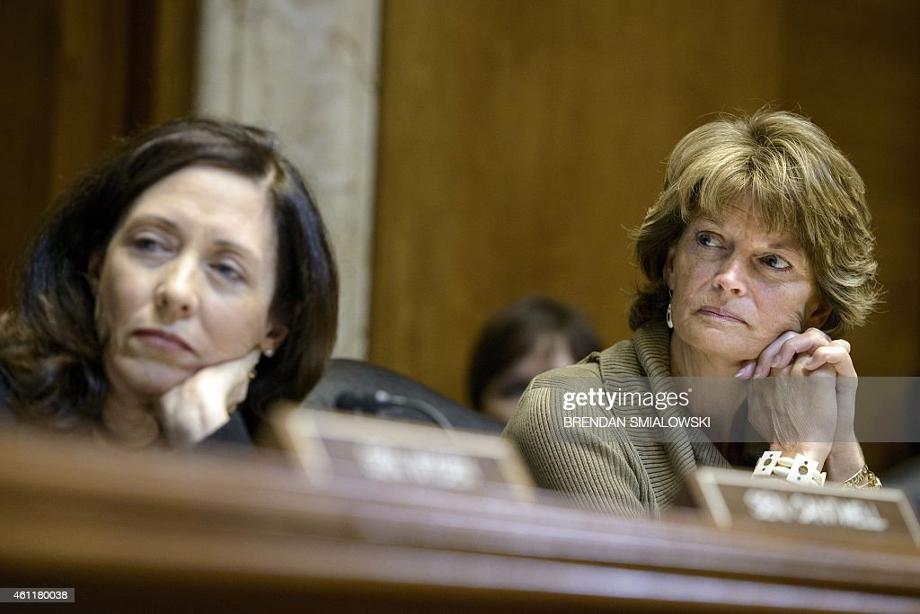 Committee ranking member Senator <a gi-track='captionPersonalityLinkClicked' href=/galleries/search?phrase=Maria+Cantwell&family=editorial&specificpeople=552125 ng-click='$event.stopPropagation()'>Maria Cantwell</a> (D-WA) and committee chairman Senator <a gi-track='captionPersonalityLinkClicked' href=/galleries/search?phrase=Lisa+Murkowski&family=editorial&specificpeople=3134392 ng-click='$event.stopPropagation()'>Lisa Murkowski</a> (R-AK) listen during a session of the Senate Energy and Natural Resources Committee on Capitol Hill January 8, 2015 in Washington, DC. The committee met for a markup of legislation to arrive the Keystone XL pipeline project. AFP PHOTO/BRENDAN SMIALOWSKI