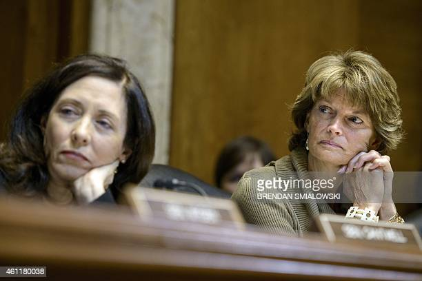 Committee ranking member Senator Maria Cantwell and committee chairman Senator Lisa Murkowski listen during a session of the Senate Energy and...