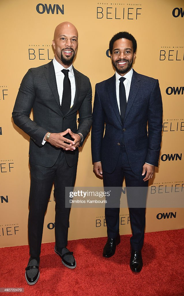 Common and Andre Holland attend the 'Belief' New York premiere at TheTimesCenter on October 14, 2015 in New York City.