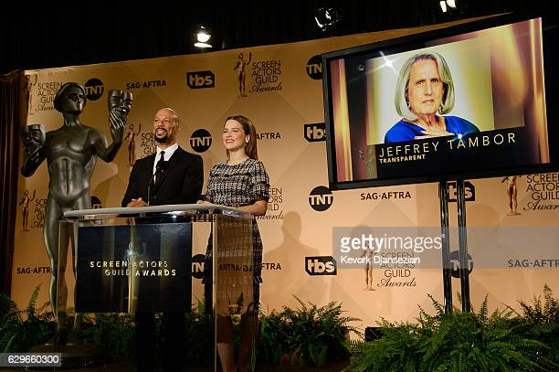 Common and Sophia Bush speak onstage during the 23rd annual SAG Awards nominations announcement at Pacific Design Center on December 14 2016 in West...