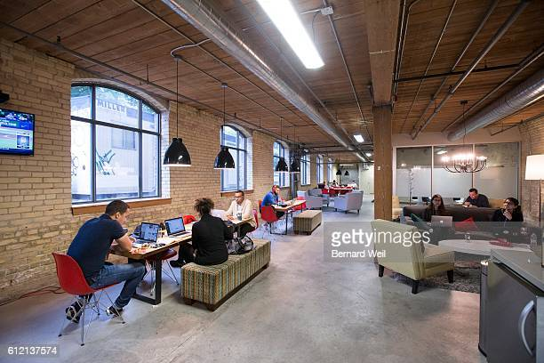 TORONTO ON SEPTEMBER 29 A common area and meeting room inside Workplace One location on Wolsely St The company provides clients with communal rental...