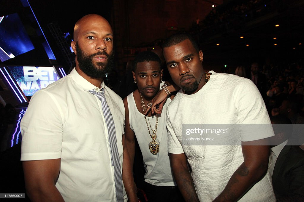 Common, <a gi-track='captionPersonalityLinkClicked' href=/galleries/search?phrase=Big+Sean&family=editorial&specificpeople=4449582 ng-click='$event.stopPropagation()'>Big Sean</a>, and <a gi-track='captionPersonalityLinkClicked' href=/galleries/search?phrase=Kanye+West+-+Musician&family=editorial&specificpeople=201803 ng-click='$event.stopPropagation()'>Kanye West</a> attend the 2012 BET Awards at The Shrine Auditorium on July 1, 2012 in Los Angeles, California.