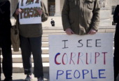 Common Cause a national nonpartisan 'citizens' lobbying group held a protest to urge the Supreme Court to overturn Citizens United v Federal Election...