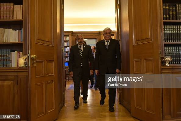 MANSION ATHENS ATTIKI GREECE Common entrance of President of Hellenic Republic Mr Prokopis Pavlopoulos and of General Governor of New Zealand...
