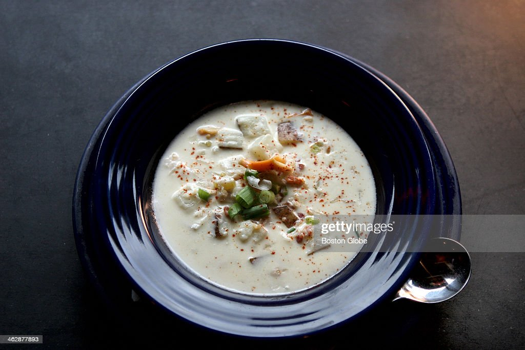 Common Ground Bar Grill's clam chowder is topped with shredded scallions and paprika