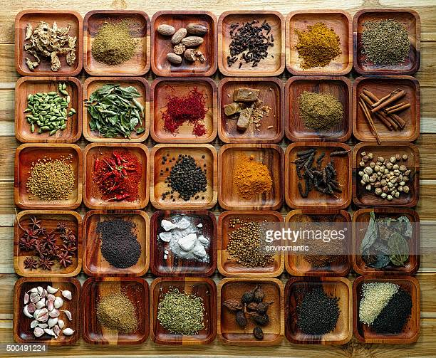 Common Indian herbs and spice ingriedients on wooden trays.