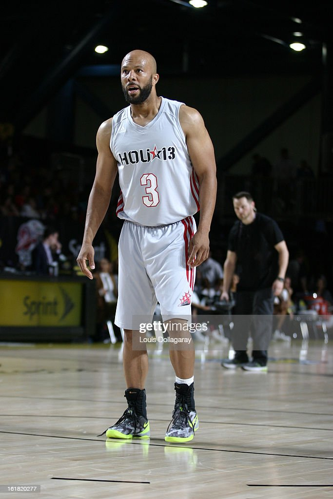Common plays during the 2013 NBA All-Star Celebrity Game at George R. Brown Convention Center on February 15, 2013 in Houston, Texas.