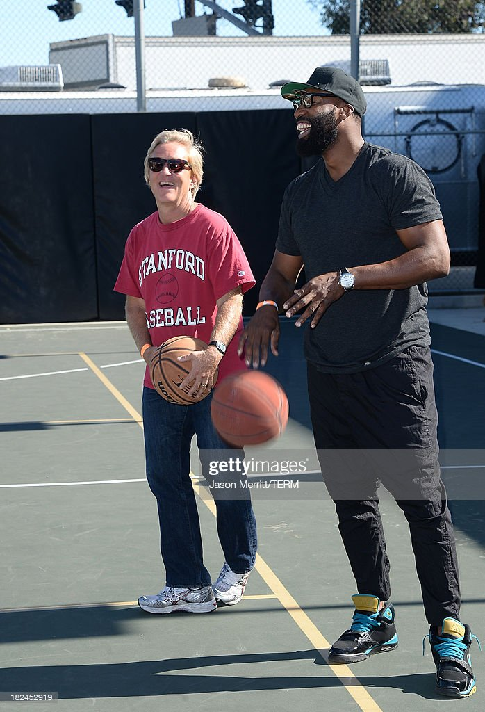 Common Sense Media CEO Jim Steyer and NBA Basketball Player Baron Davis attend the 2nd Annual GameOn! fundraiser hosted by Common Sense Media at Sony Pictures Studios on September 29, 2013 in Culver City, California.