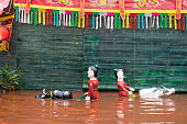 A common Vietnamese water puppetry show