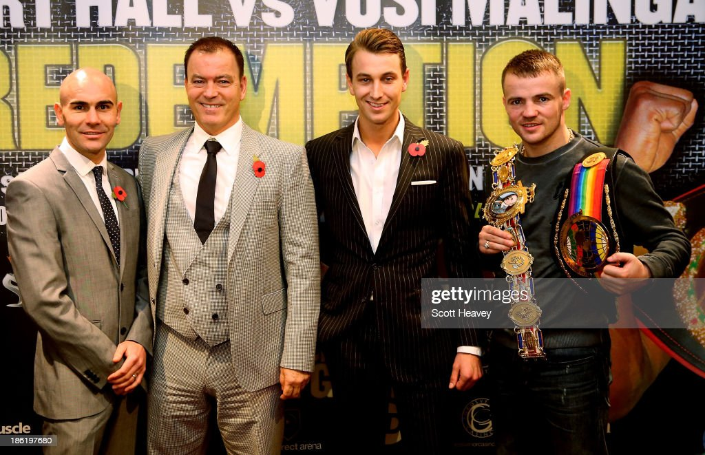 Commonwealth and IBF Intercontinental Champion Stuart Hall, Dennis Hobson, George Warren and British and Commonwealth Welterweight Champion Frankie Gavin during a press conference on October 29, 2013 in London, England.