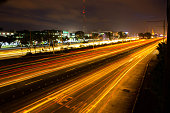 Night view of Commonwealth Avenue in Quezon City, Philippines.