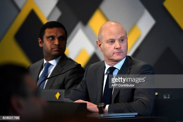 Commonwealth Bank CEO Ian Narev listens a question following an announcement on the bank's fullyear results in Sydney on August 9 2017 Australia's...