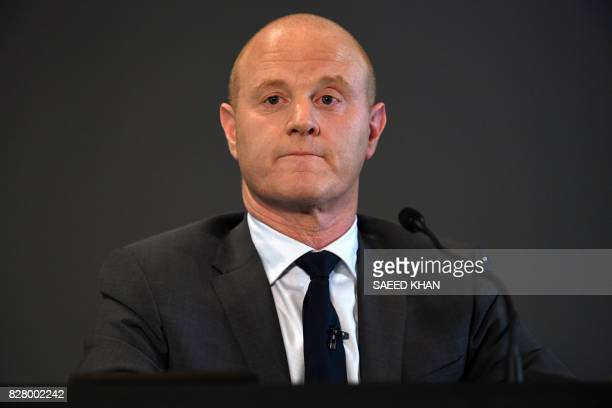 Commonwealth Bank CEO Ian Narev listens to a question following an announcement on the bank's fullyear results in Sydney on August 9 2017 Australia's...