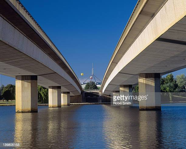 Commonwealth Bridge over Lake Burley Griffin, view to Parliament House
