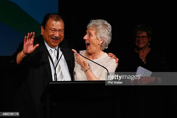 Commonwealth Games Federation President Louise Martin and HRH Tunku Imran speak during the Farewell Gala Dinner for the Commonwealth Games General...
