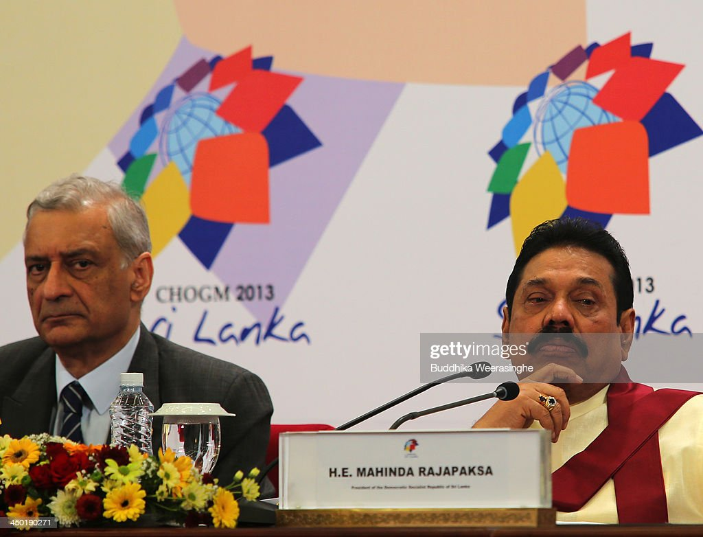 Commonwealth Secretary General Kamalesh Sharma (L) and Sri Lankan President Mahinda Rajapaksa looks during the press conferance on the final day of the Commonwealth Heads of Government Meeting (CHOGM) on November 17, 2013 in Colombo, Sri Lanka. The biennial summit of Commonwealth leaders was attended by over 5000 delegates including the Prince of Wales and the Duchess of Cornwall.