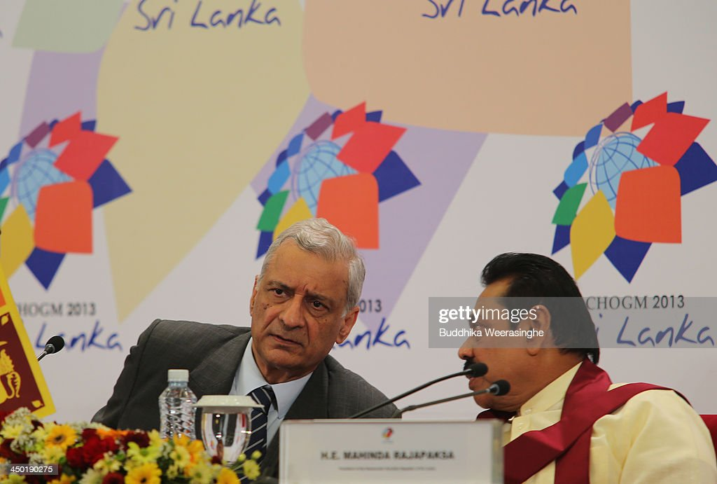 Commonwealth Secretary General Kamalesh Sharma (L) and Sri Lankan President Mahinda Rajapaksa talk during the press conferance on the final day of the Commonwealth Heads of Government Meeting (CHOGM) on November 17, 2013 in Colombo, Sri Lanka. The biennial summit of Commonwealth leaders was attended by over 5000 delegates including the Prince of Wales and the Duchess of Cornwall.