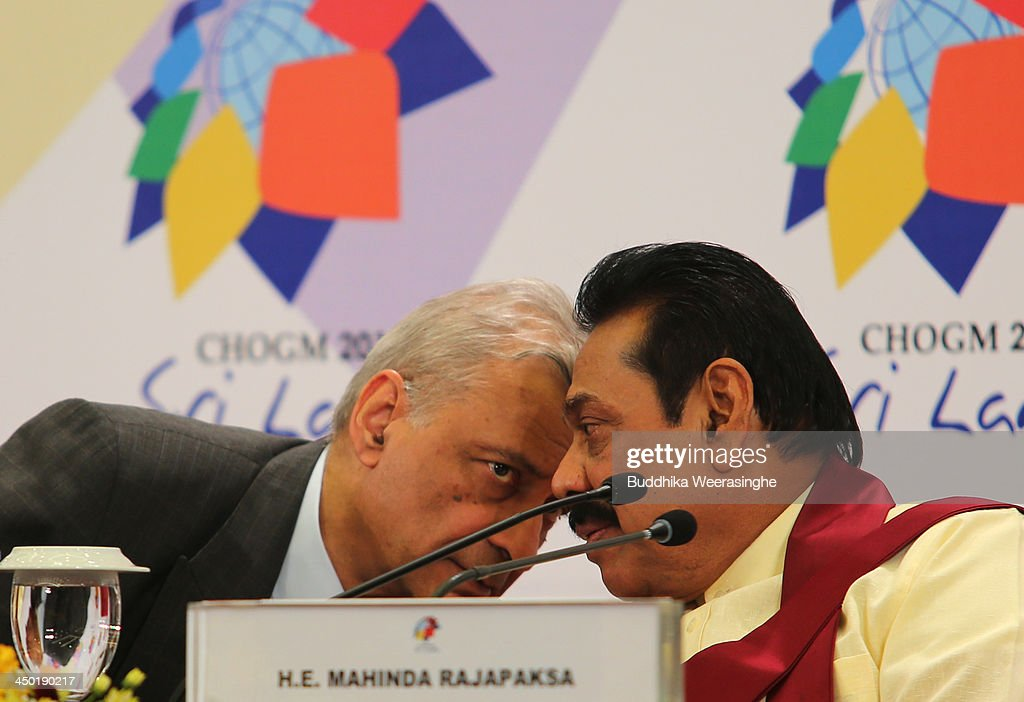 Commonwealth Secretary General Kamalesh Sharma (L) and Sri Lankan President <a gi-track='captionPersonalityLinkClicked' href=/galleries/search?phrase=Mahinda+Rajapaksa&family=editorial&specificpeople=588377 ng-click='$event.stopPropagation()'>Mahinda Rajapaksa</a> during the press conferance on the final day of the Commonwealth Heads of Government Meeting (CHOGM) on November 17, 2013 in Colombo, Sri Lanka. The biennial summit of Commonwealth leaders was attended by over 5000 delegates including the Prince of Wales and the Duchess of Cornwall.