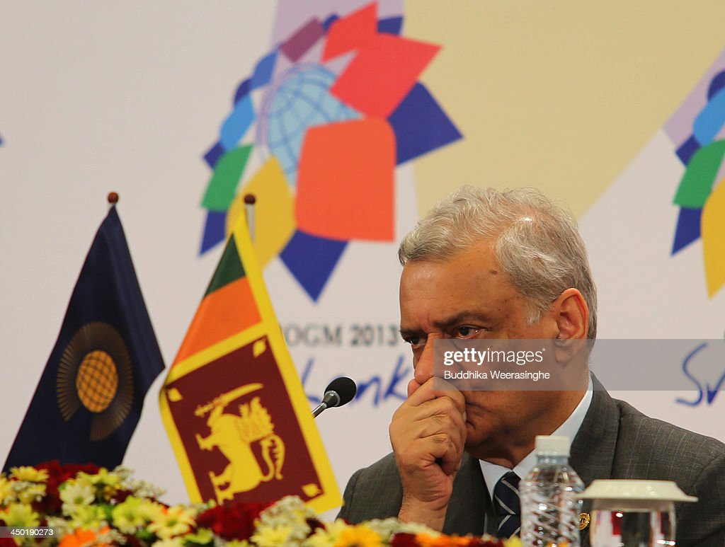 Commonwealth Secretary General Kamalesh Sharma reacts during the press conferance on the final day of the Commonwealth Heads of Government Meeting (CHOGM) on November 17, 2013 in Colombo, Sri Lanka. The biennial summit of Commonwealth leaders was attended by over 5000 delegates including the Prince of Wales and the Duchess of Cornwall.