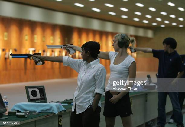 Commonwealth Youth Games 2008 Deepika Patel from India practices at firing range on Sunday for commonwealth youth games 2008 at Balewadi Pune