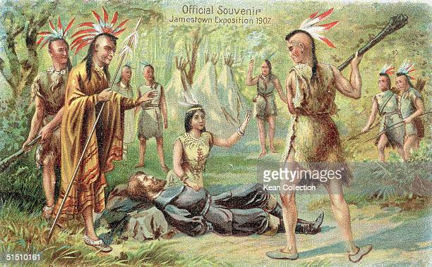 A commorative postcard from the 1907 Jamestown Exposition shows an idealized view of Native American Pocahontas daughter of Chief Powhatan kneels...