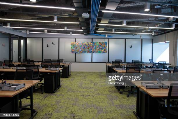 Communal workstations are seen in a classroom at the Facebook Inc Hack Station in Sao Paulo Brazil on Monday Dec 11 2017 The Facebook Hack Station is...