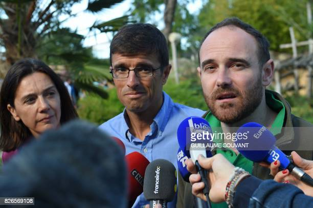 Communication director Delphine Delord Zoo director Rodolphe Delord and chief veterinary Baptiste Mulot hold a press conference after twin cubs were...