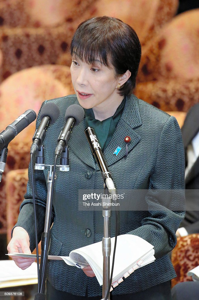 Communication Minister <a gi-track='captionPersonalityLinkClicked' href=/galleries/search?phrase=Sanae+Takaichi&family=editorial&specificpeople=3250453 ng-click='$event.stopPropagation()'>Sanae Takaichi</a> addresses during a lower house budget committee session at the diet building on February 10, 2016 in Tokyo, Japan.