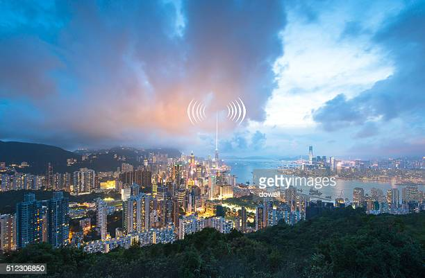 communication of wireless radio wave over Hong Kong at night