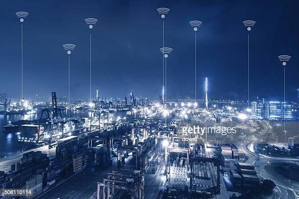 communication of wireless radio wave over modern city at night